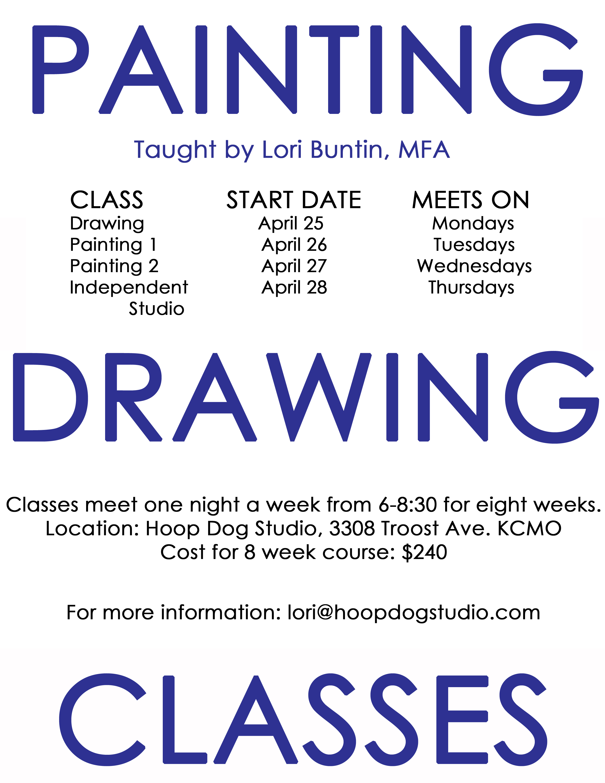 Upcoming Round of Art Classes at Hoop Dog Studio